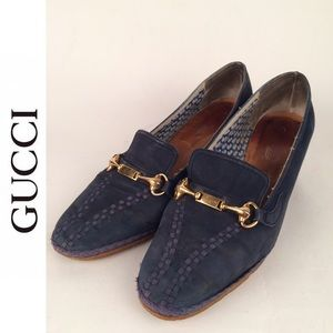 Gucci Navy Suede Wedge Slip On Shoes size 36